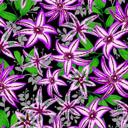 Purple Flowers 100% Cotton  42-44 Wide