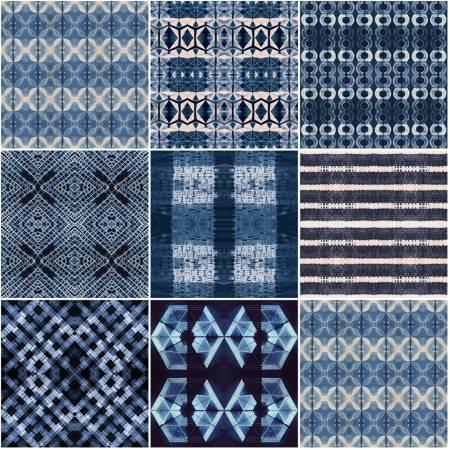 Fat Quarter Shibori Dye 8pc/bundle in Indigo