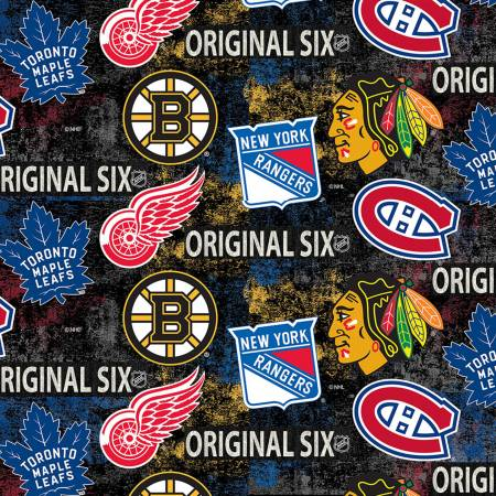 NHL-Original Six Distressed Tossed Logo Allover Cotton
