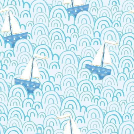 Itty Bittys - Blue Tossed Sailboats - by 3 Wishes Fabric