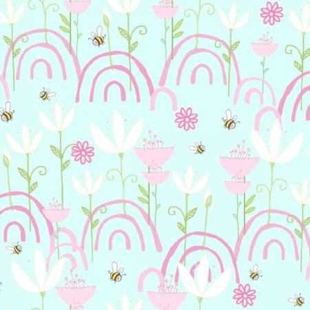 Itty Bittys - Blue Flowers Flannel - by 3 Wishes Fabric