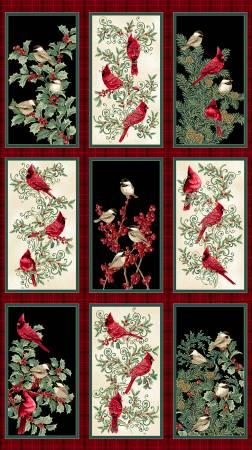 Multi Winter Elegance Birds Panel w/Metallic
