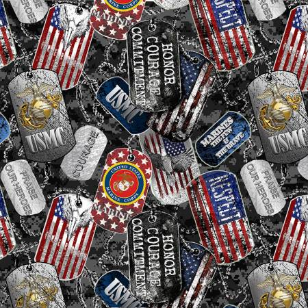 Military Dogtags Marines Fabric by the yard