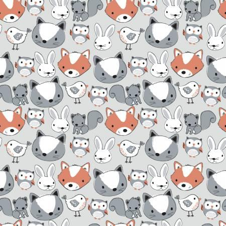 Grey Animal Faces Flannel