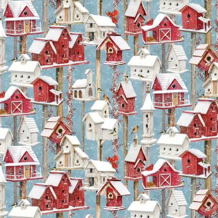 Winter Birdhouses-Blue