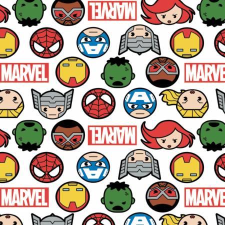 Marvel - Kawaii Hero Faces & Logo - White