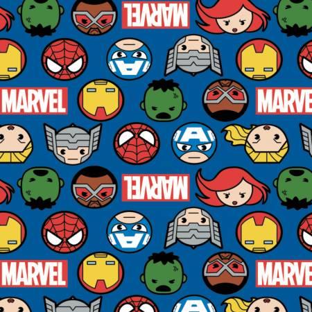 Marvel - Kawaii Hero Faces & Logo - Blue