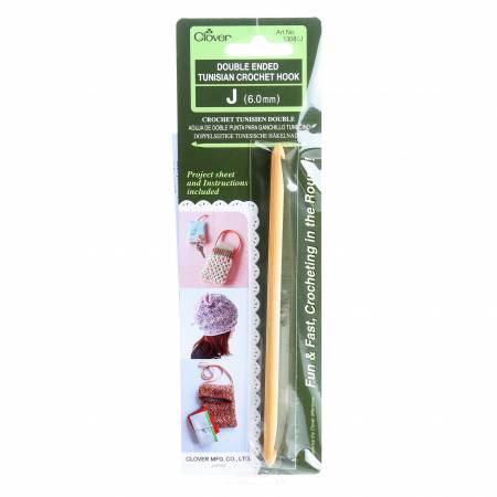 Clover Bamboo Double Ended Tunisian Crochet Hook Size J 6.0mm