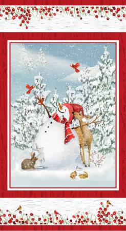 Sheltering Snowman- Snowman Panel-Blue/Red - 1310P-81