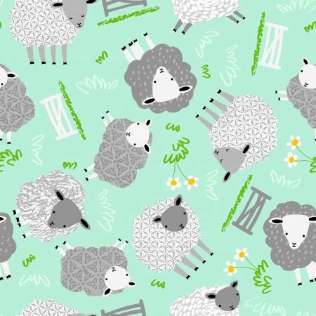 Comfy Flannel Mint Sheep CMFY-13179 MNT-FLNDR