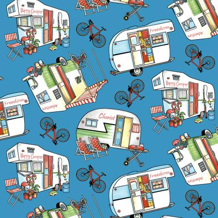 Henry Glass Happy Camper Blue Campers and Bikes