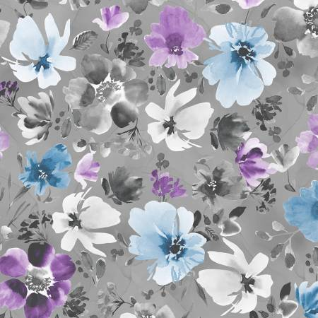 Grey Large Floral Allover