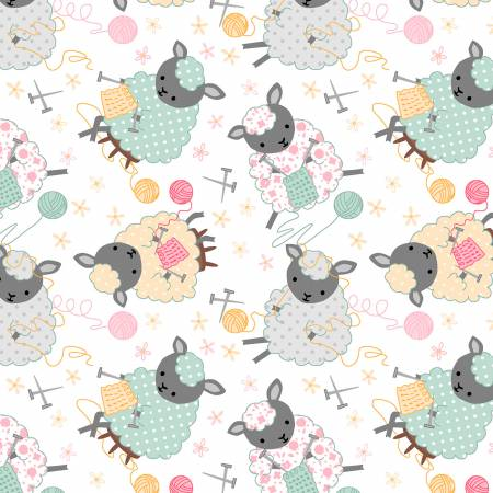 White Knitting Sheep Comfy Flannel
