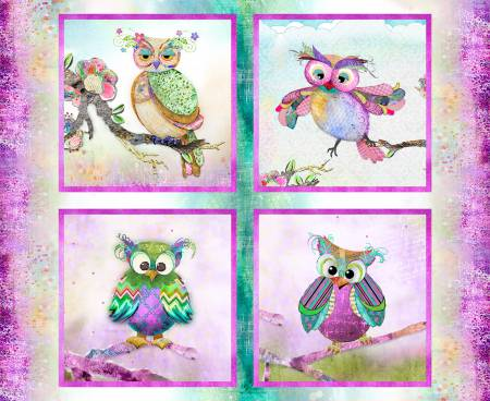 *Multi Boho Owls Panel Digitally Printed ea