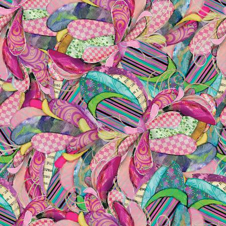 3 Wishes BOHO Owls Multi Feathers Cotton Fabric