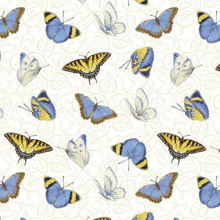 White Multi Tossed Butterflies