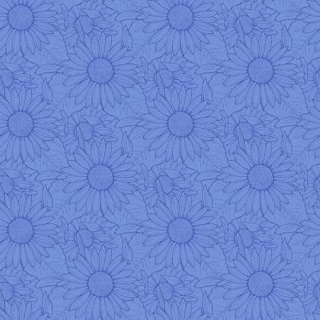 Blue Outlined Sunflowers