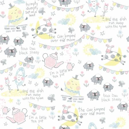 White Nursery Rhymes Characters Cotton Flannel