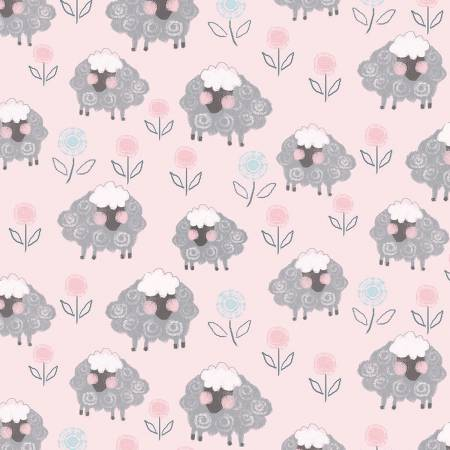 PLAYFUL CUTIES - Pink Sheep on Flannel