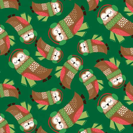 Merry Woods by Fabric Editions - Owls 13905 Green