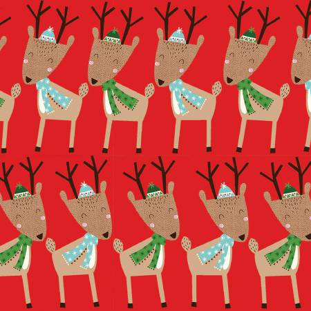 Merry Woods by Fabric Editions - Reindeer 13907 Red