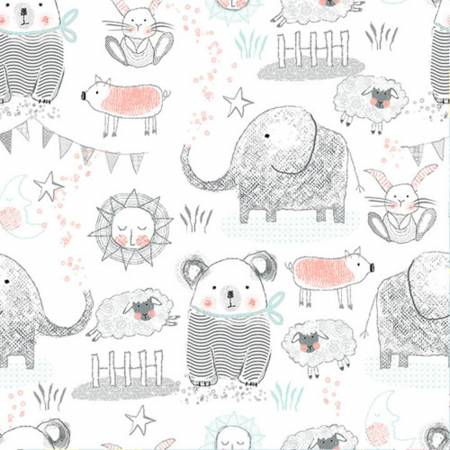 White Elephant, Bear, Pigs, Bunny & Sheep Comfy Flannel