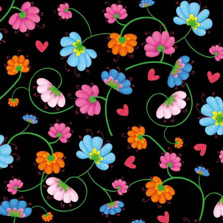 Busy Bees - Black/Multi Flowers