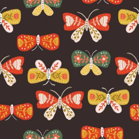 Orange and Yellow Butterflies on Dark Brown:  Glorious Garden by Quilter's Palette