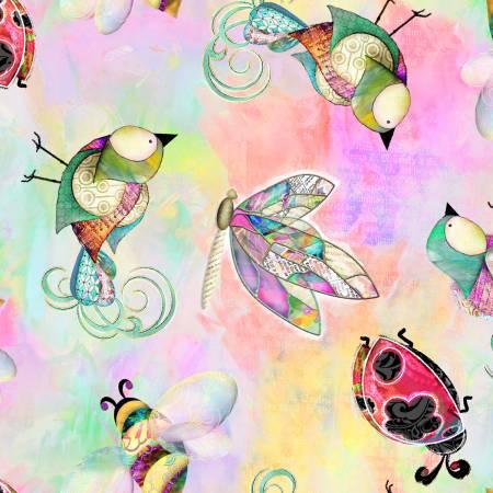 Multi Dragonflies, Birds & Bugs Digitally Printed