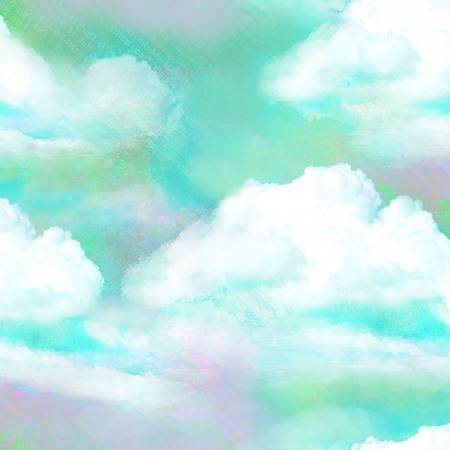 Turquoise Clouds Digitally Printed