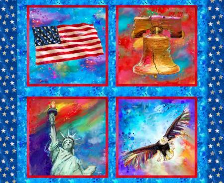 3 Wishes Fabric-American Icons-Al Patriotic Panel-Digital