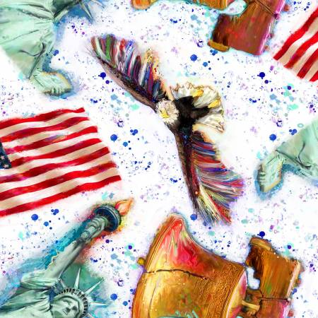 3 Wishes Fabric-American Icons-Al Patriotic Mix-Digital