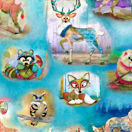 3 Wishes Wild & Whimsy 14562-Multi Animals Digitally Printed