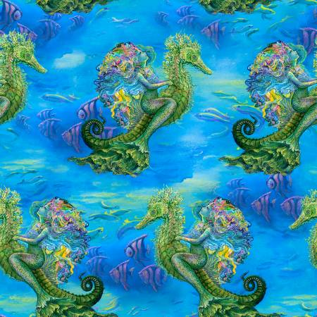 SPECIALTY FABRICS ROOM:   Mermaids Riding Seahorses on Blue:  Mystic Ocean by Josephine Wall for 3 Wishes Fabric
