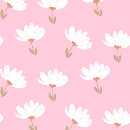 Playful Cuties 3 - White Floral on Pink Flannel