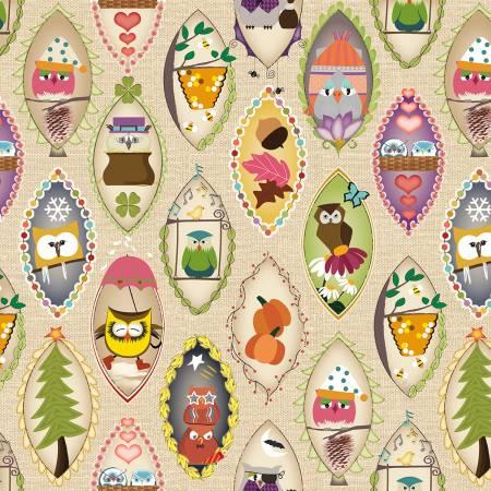 Beige Owls in Ovals