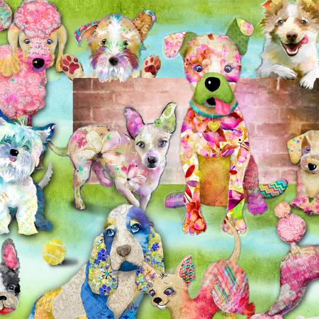Good Dogs Too - Green Packed Dogs, Digitally Printed - by 3 Wishes Fabric