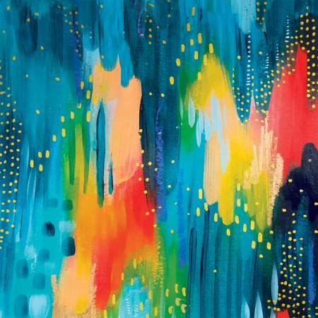 Artsy Brights Blue Brushwork Digitally Printed
