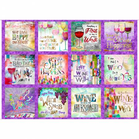 3 Wishes Fabric-Sip & Snip 14903-Purple Panel