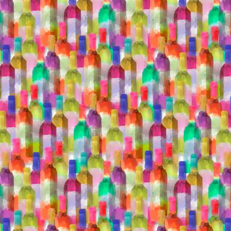 Sip and Snip - Multi Wine Bottles, Digitally Printed - by Connie Haley for 3 Wishes Fabrics