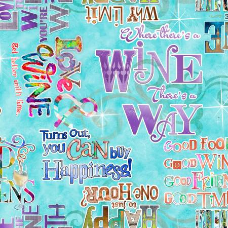 3 WISHES Tuquoise Wine Words Digitally Printed