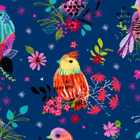 Navy Floral Bird Digitally Printed
