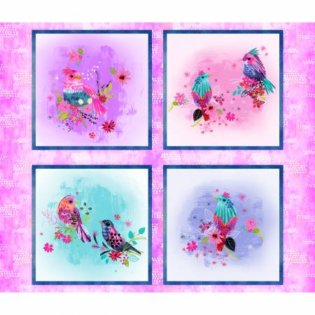 Multi Bright Birds Panel Digitally Printed