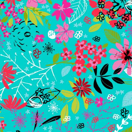 Turquoise Tossed Floral Digitally Printed
