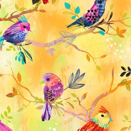 Yellow Birds on Branches Digitally Printed