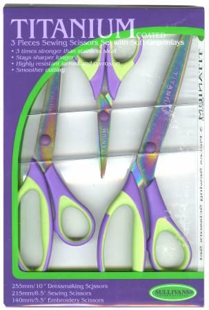 Set of 3 Sizes Titanium Coated Scissors