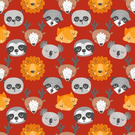 Animal Hugs 15043 Red Animals Faces