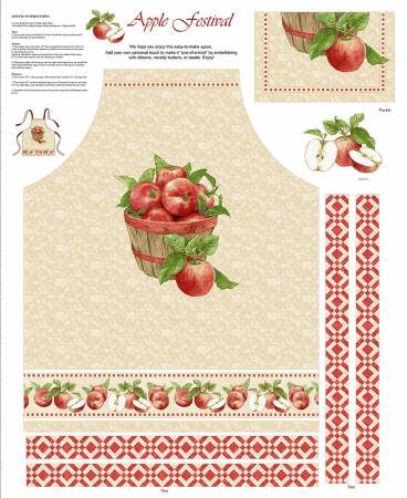 Red Apple Festival Apron Panel 36in x 44in