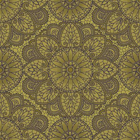Henry Glass Sage & Sea Glass 1536-66 Green Mandala
