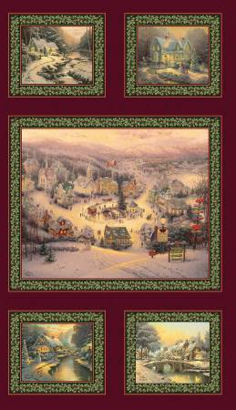 SPIRIT OF CHRISTMAS PANEL OLD FASHIONED TOWN SCENES 01536-99